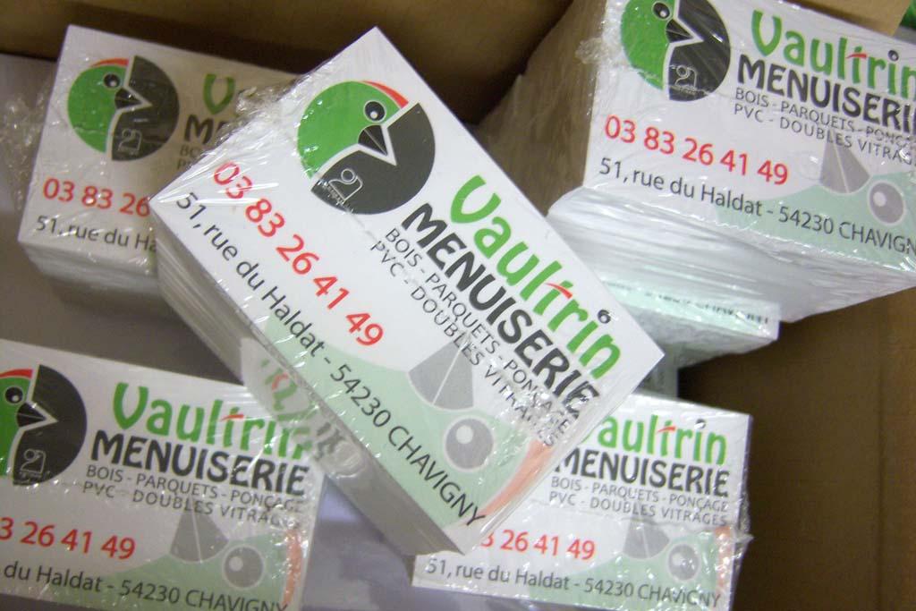 Impression cartes de visites avec le nouveau logo pour Vaultrin menuiserie à Chavigny en Lorraine !