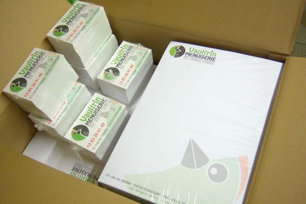 Impression offset quadri de papier à entête 90 gr avec filigrane pour la Menuiserie Vaultrin à Chavigny près de Nancy !