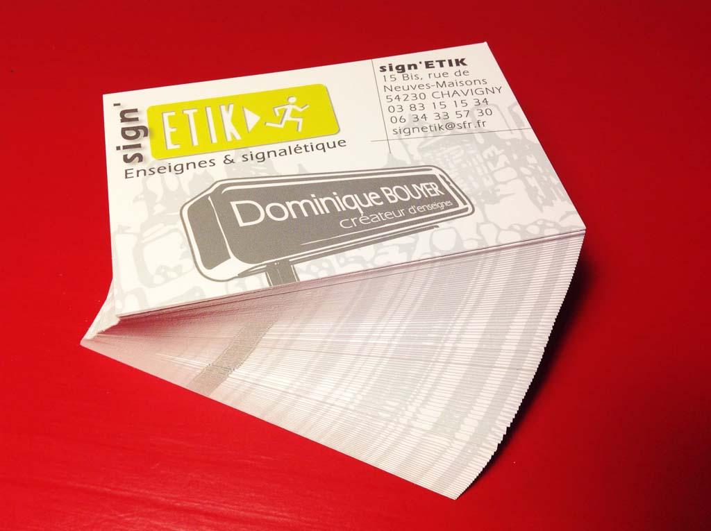 Création du logo et de la carte de visite en papier 350 gr couché mat pour sign'ETIK Nancy !