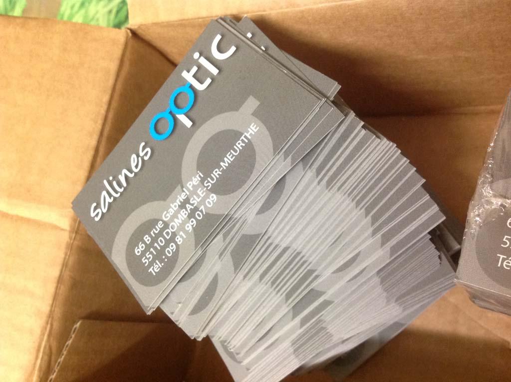 Cartes de visite en papier 350 gr impression Offset pour Salines Optic à Dombasles 54