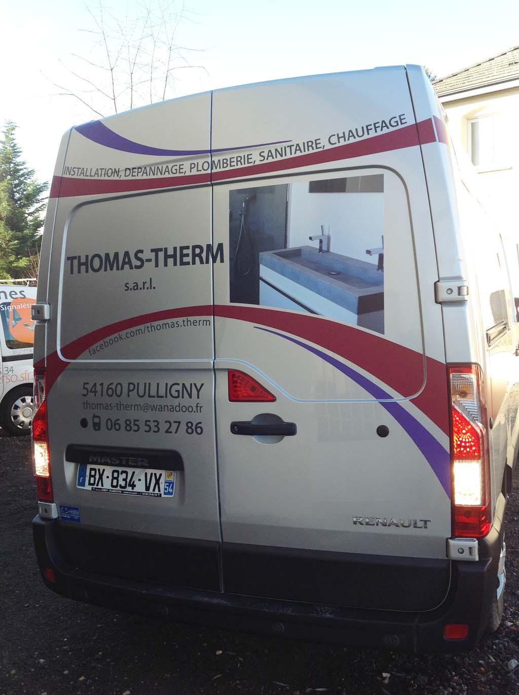 Marquage adhésif publicitaire sur véhicule professionnel à Nancy