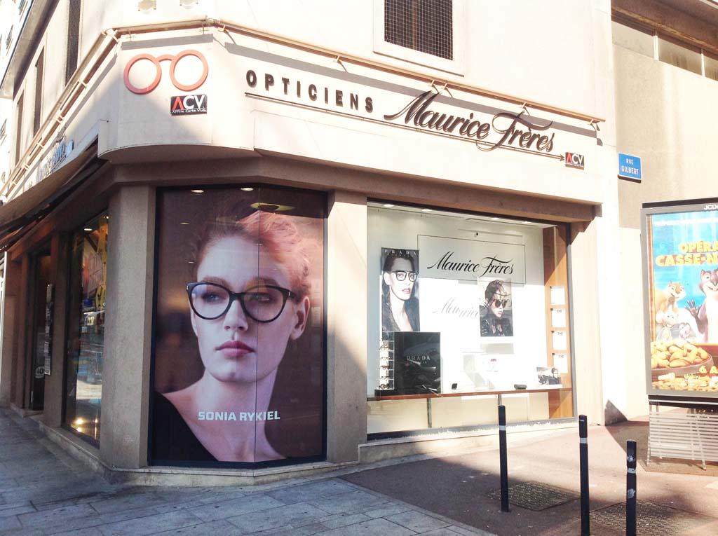 Habillage promotionnel en adhésif micro-perforé imprimé de la vitrine de l'enseigne Maurice Frères à Nancy 54
