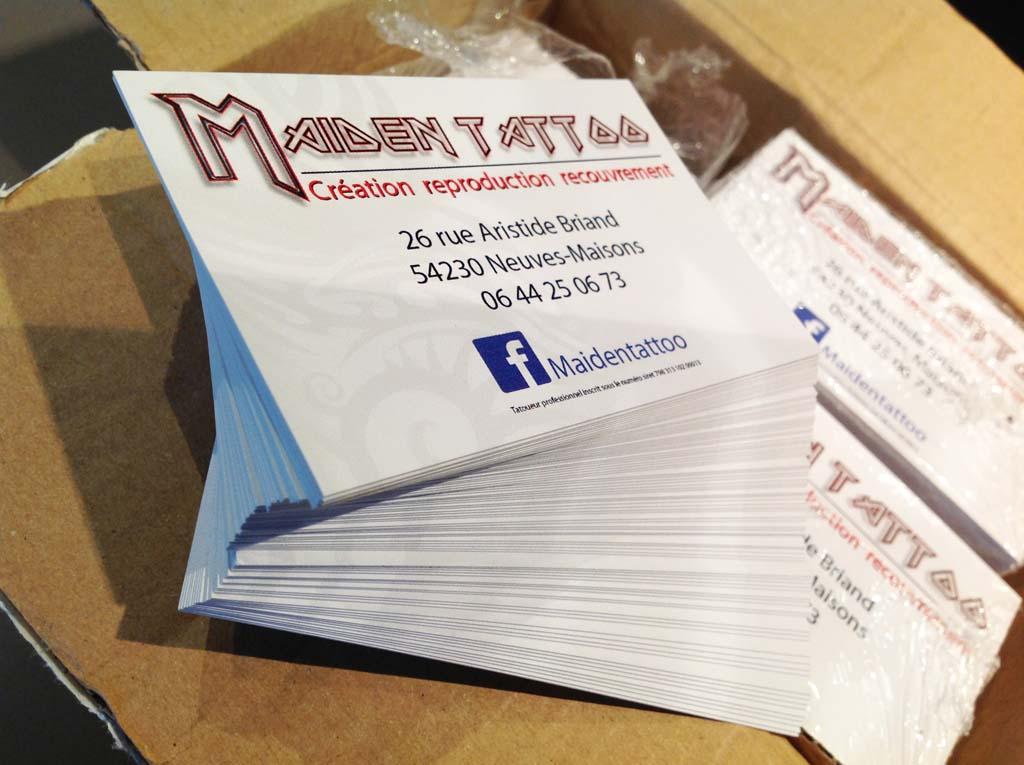 Création graphique de cartes de visites personnalisées quadri en recto et verso avec papier 350 gr et pelliculage mat ou brillant pour Maïden Tatoo à Neuves-Maisons 54230 près de Nancy et Ludres