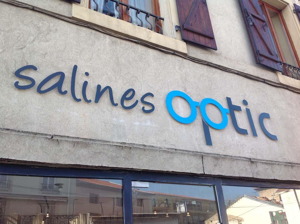 Lettres en relief fabriquée en Aludibond épaisseur 3 MM pour Salines Optic à Dombasles en Lorraine
