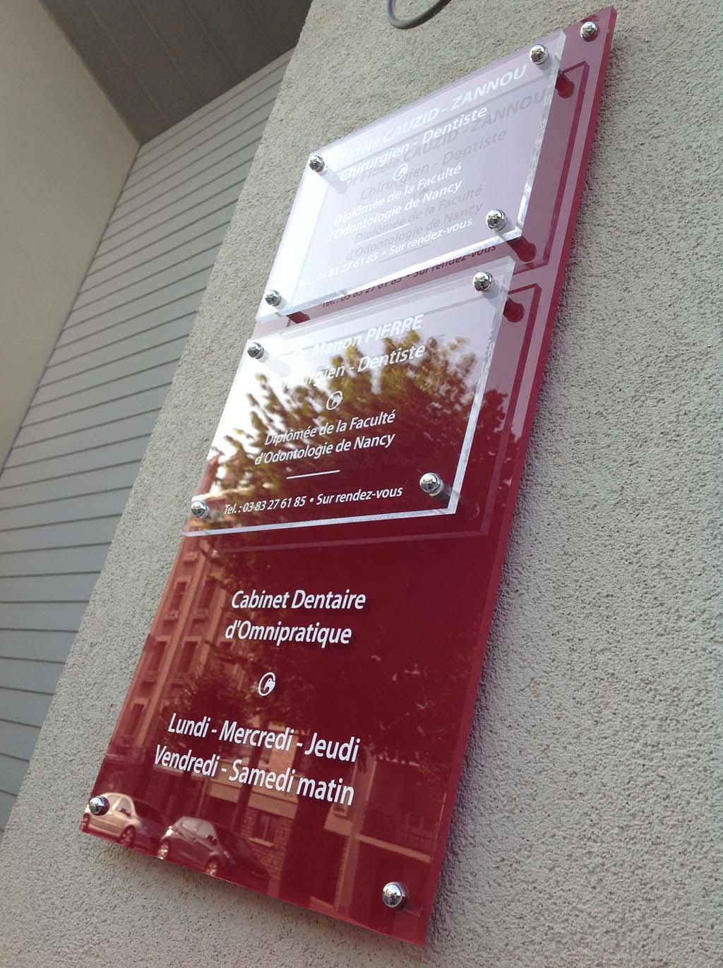 sign'ETIK - Panneaux en Plexi incolore pour les docteurs, dentistes et les cabinets d'ostéopathes à Nancy 54000