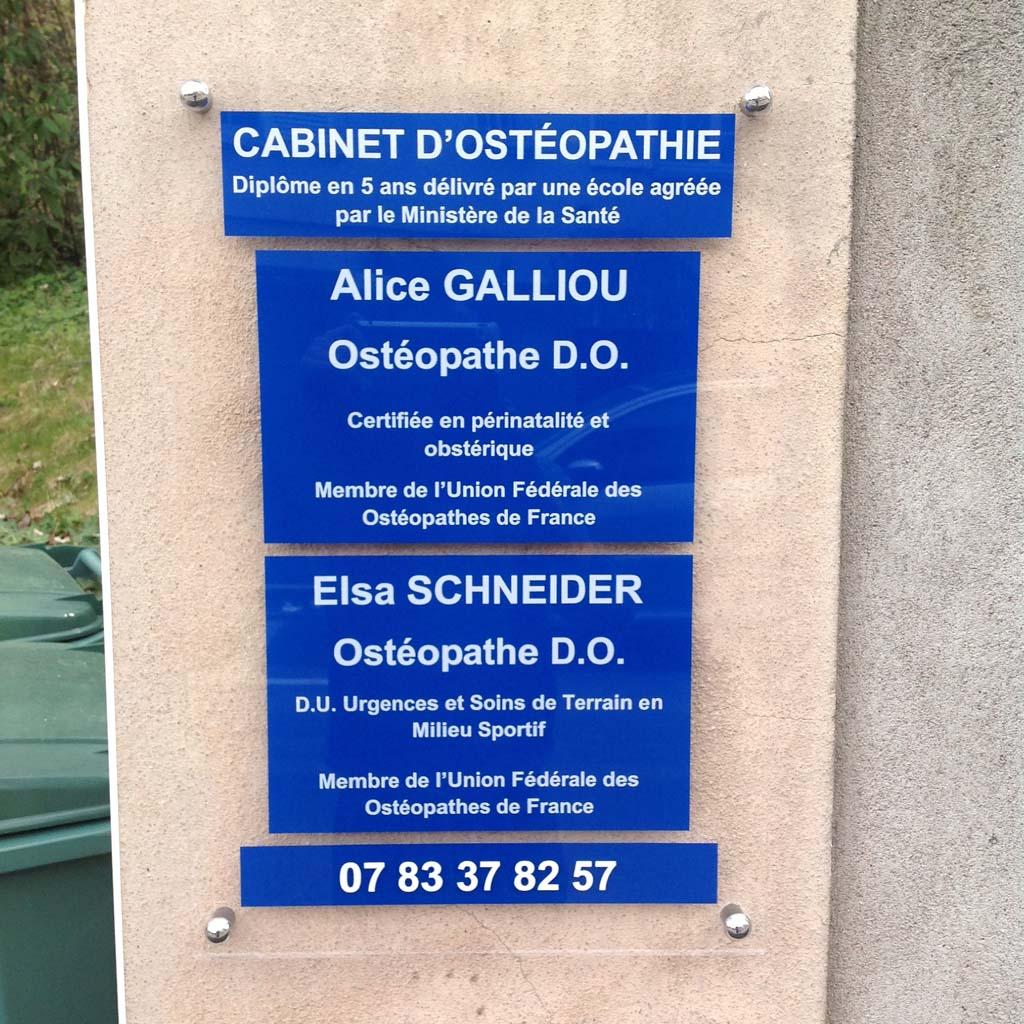 Plaque professionnelle pour profession médicale réalisée pour le cabinet d'Ostéopathie à Saint Max en lorraine 54000 près de Nancy et Malzéville